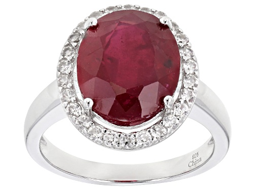 Photo of 3.75ct Oval Mahaleo® Ruby  With 0.52ctw Round White Zircon Rhodium Over Silver Ring - Size 9