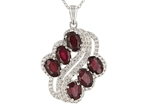 Photo of 5.40ctw Oval Mahaleo® Ruby With 0.35ctw Round White Zircon Rhodium Over Silver Pendant With Chain