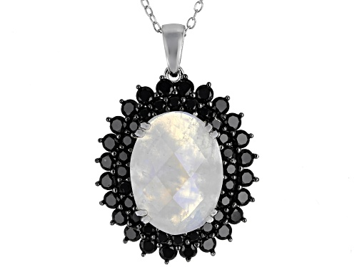 Photo of 16x12mm Moonstone with 2.50ct Round Black Spinel Rhodium Over Sterling Silver Pendant With Chain