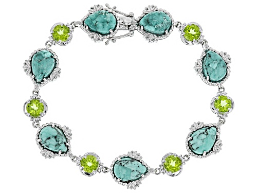 Photo of Blue Kingman Turquoise With 7.5ctw Round Green Peridot Rhodium Over Sterling Silver Line Bracelet - Size 6.75
