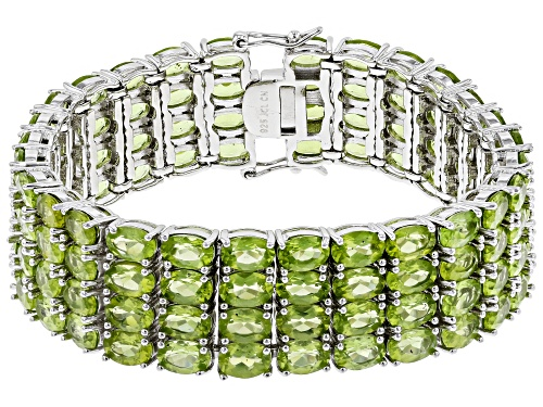 Photo of 51.90ctw Oval Peridot Rhodium Over Sterling Silver Multi-Row Bracelet - Size 7