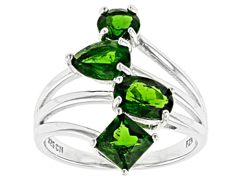 Photo of 2.73ctw Square, Oval, Pear Shape and Round Chrome Diopside Rhodium Over Silver 4-Stone Ring - Size 7