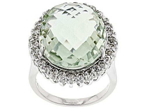 Photo of 14.00ct Oval Criss/Cross Cut Prasiolite With .50ctw Round White Topaz Rhodium Over Silver Ring - Size 8