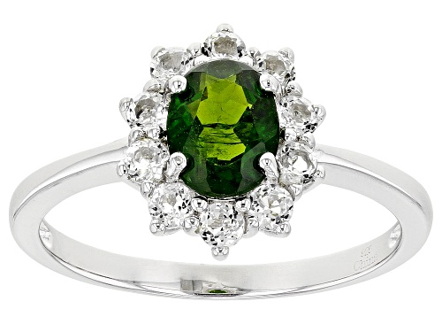 Photo of 1.20ctw Oval Russian Chrome Diopside With .80ctw Round White Topaz Sterling Silver Ring - Size 11