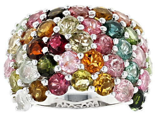 5.85ctw Round Mixed-Color, Multi-Tourmaline Rhodium Over Sterling Silver Band Ring - Size 6