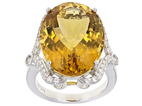 Photo of 14.00ct Oval Citrine with .60ctw Round White Zircon Rhodium Over Sterling Silver Ring - Size 8