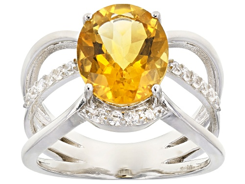 Photo of 2.75ct Oval Citrine with .45ctw Round White Zircon Rhodium Over Sterling Silver Ring - Size 8