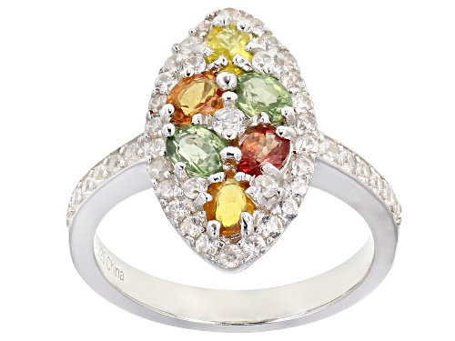 Photo of 1.25ctw Oval Mixed-Color Multi-Sapphire With 1.30ctw Round White Zircon Rhodium Over Silver Ring - Size 7