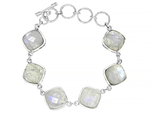 Photo of 14mm Square Cushion, Checkerboard Cut Moonstone, Sterling Silver 6-Stone Bracelet - Size 7