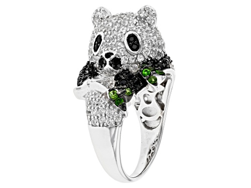 Photo of 2.56ctw White Zircon,.12ctw Chrome Diopside & .50ctw Black Spinel Rhodium Over Silver Panda Ring - Size 10