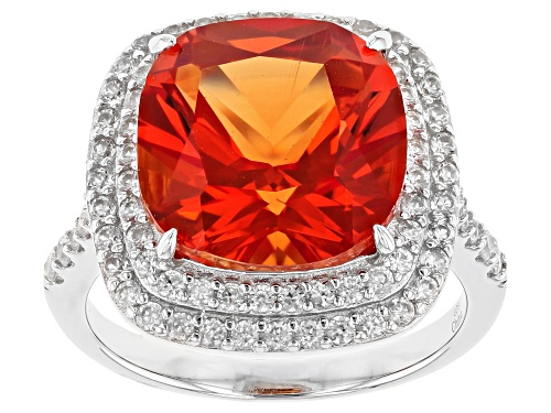 Photo of 9.85ct Cushion Lab Created Padparadscha Sapphire, 1.00ctw White Zircon Rhodium Over Silver Ring - Size 7