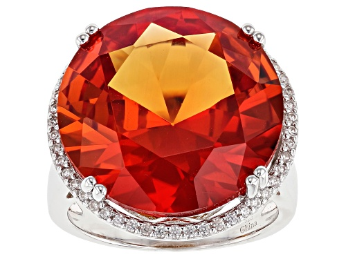 Photo of 25.00ct Round Lab Created Padparadscha Sapphire With .40ctw White Zircon Rhodium Over Silver Ring - Size 10