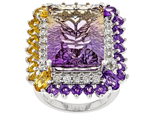 Photo of 13.50ct Rectangular Ametrine with 3.53ctw Amethyst, Citrine & White Zircon Rhodium Over Silver Ring - Size 7