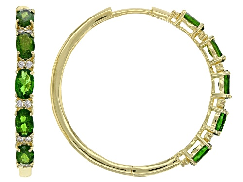 Photo of 2.40ctw Oval Chrome Diopside With .30ctw White Zircon 18K Yellow Gold Over Silver Hoop Earrings