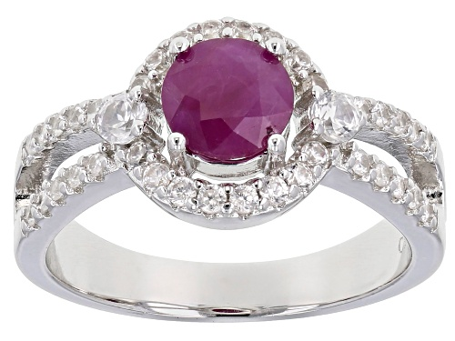 Photo of 1.25ct  Round Burmese Ruby With .75ctw Round White Zircon Rhodium Over Sterling Silver Ring - Size 10