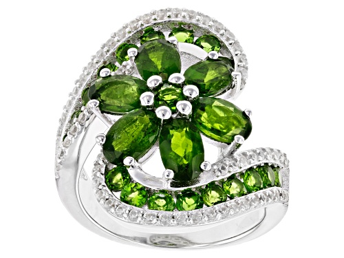 Photo of 4.00ct Oval & Round Russian Chrome Diopside With .75ctw Round White Zircon Rhodium Over Silver Ring - Size 6