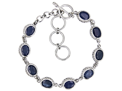 Photo of 14.50ctw Oval Blue Sapphire Sterling Silver 9-Stone Bracelet - Size 7.75