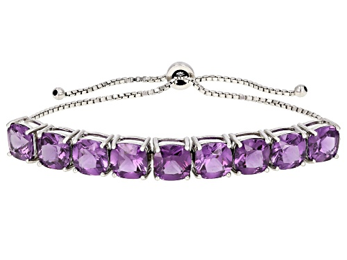 Photo of 24.00ctw Square Cushion Purple Lab Created Color Change Sapphire Rhodium Over Silver Bolo Bracelet