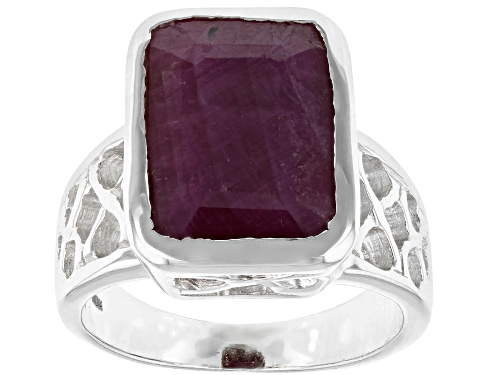 Photo of 7ctw Rectangular Red Ruby Sterling Silver Ring - Size 7