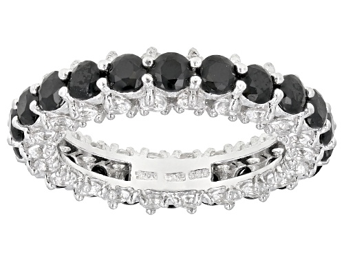 Photo of 2.64ctw Black Spinel With 1.76ctw White Topaz Rhodium Over Sterling Silver Eternity Band Ring - Size 7