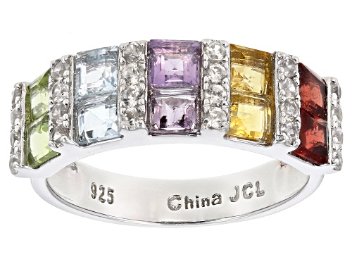 Photo of Multi Stone Rhodium Over Sterling Silver Ring. 1.62ctw - Size 7