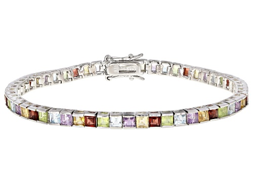 Photo of Multi Stone Rhodium Over Sterling Silver Bracelet. 6.73ctw - Size 7.5