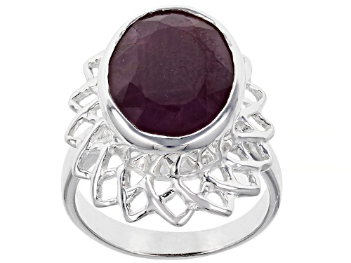 Photo of 7.35ctw Oval Red Ruby Sterling Silver Ring - Size 7
