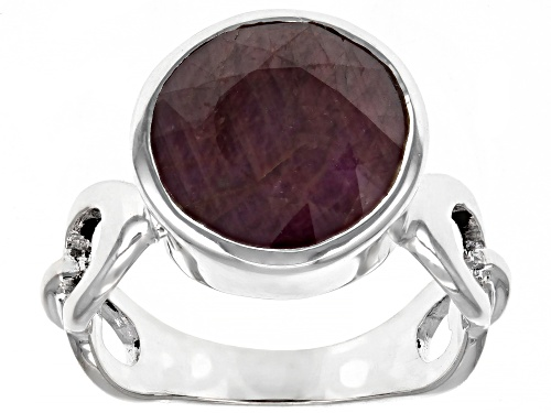 Photo of 6.43ctw Round Red Ruby Sterling Silver Ring - Size 7