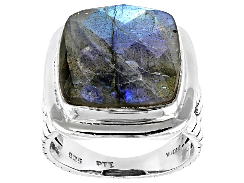 Photo of Square Cushion Labradorite Sterling Silver Solitaire Ring - Size 7