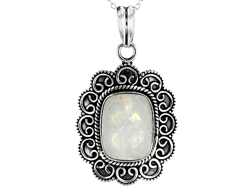 Photo of 10.25ctw Rectangular Cushion Moonstone Sterling Silver Pendant With Chain