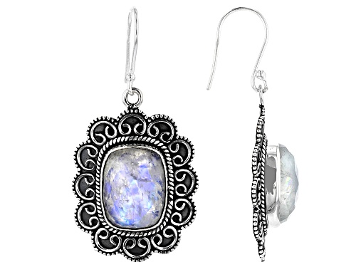 Photo of 21ctw Rectangular Cushion Moonstone Sterling Silver Dangle Earrings