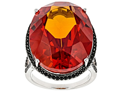 Photo of 32.00ct Lab Created Padparadscha Sapphire W/ 0.60ctw Black Spinel Rhodium Over Sterling Silver Ring - Size 7