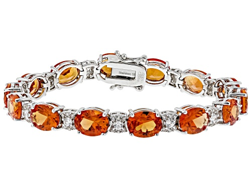 Photo of 32.0ctw Lab Created Padparadscha Sapphire W/ 1.50ctw Zircon Rhodium Over Sterling Silver Bracelet - Size 7