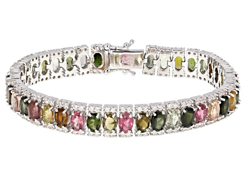 Photo of 14.50ctw Multi-Color Tourmaline With 3.25ctw White Zircon Rhodium Over Sterling Silver Bracelet - Size 7