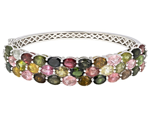 Photo of 22.00ctw Oval Multi-Color Tourmaline Rhodium Over Sterling Silver Bangle Bracelet - Size 7