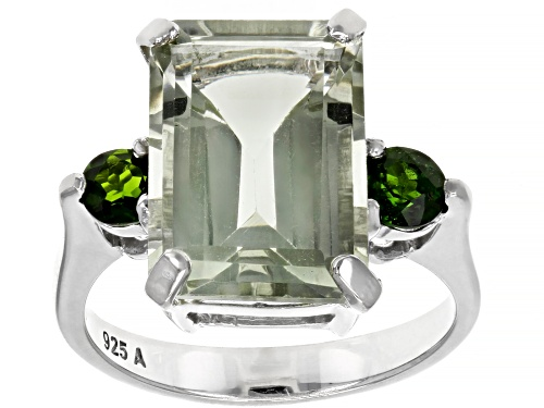 Photo of 7.0ctw Rectangular Prasiolite With .45ctw Round Chrome Rhodium Over Sterling Silver Ring - Size 8