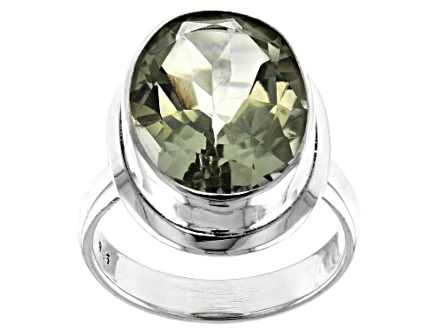 Photo of 6ct Oval Prasiolite Solitaire Sterling Silver Ring - Size 7