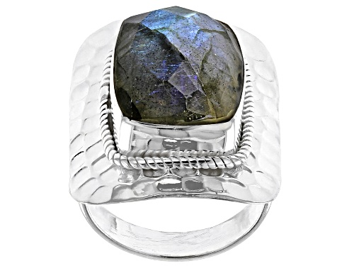 Photo of 12x16mm Labradorite  Rectangular Cushion Cabochon  Sterling Silver Solitaire Ring - Size 7