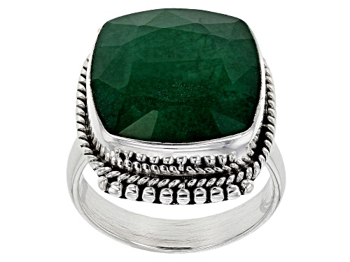 Photo of 15mm Square Cushion Green Beryl Solitaire Sterling Silver Ring - Size 8