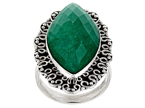 Photo of 26x13mm Marquise Green Beryl Solitaire Sterling Silver Ring. - Size 7