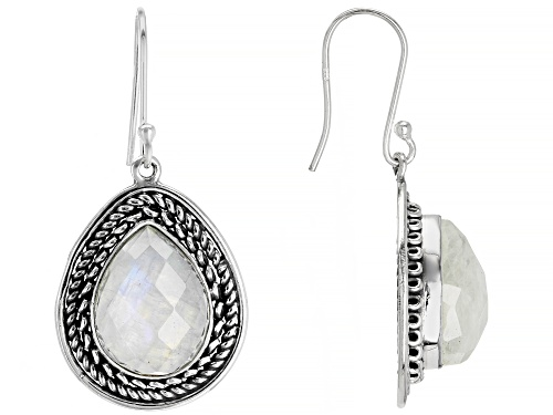 Photo of 12x16mm Checkerboard Pear Shape Rainbow Moonstone Solitaire Sterling Silver Dangle Earrings