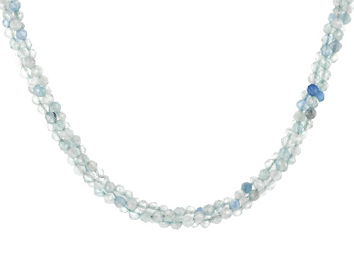 Photo of 60ctw Round Aquamarine Bead Sterling Silver Multi-Row Necklace - Size 18