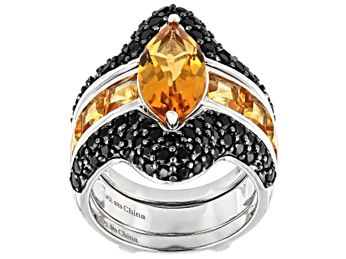 Photo of 5.15ctw Marquise and Citrine With 1.29ctw Round Black Spinel Rhodium Over Silver Ring Guard Set - Size 8
