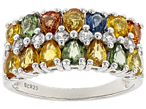 Photo of 3.34ctw Mixed-color Sapphire With .48ctw Round White Zircon Rhodium Over Silver 2-Row Band Ring - Size 8