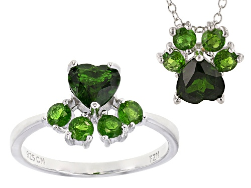 Photo of 2.76ctw Heart Shape & Round Chrome Diopside Rhodium Over Silver Ring and Slide with Chain Set