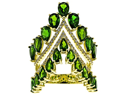 Photo of 6.03Ctw Pear Chrome Diopside W/ 0.61ctw Round White Zircon 18k Yellow Gold Over Sterling Silver Ring - Size 7