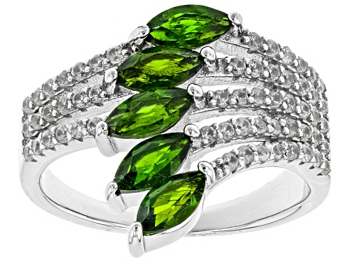 Photo of 1.25ctw Marquise Chrome Diopside With 0.70ctw White Zircon Rhodium Over Sterling Silver Ring - Size 7