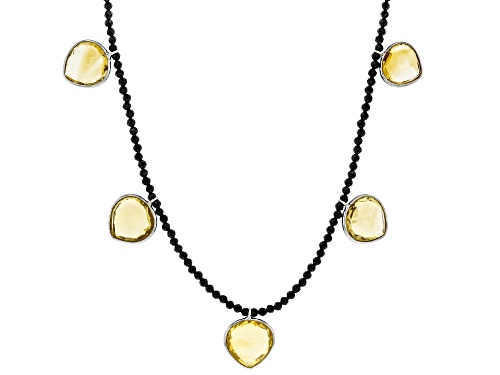 Photo of 30ctw Pear Shape Citrine with 17ctw Black Spinel Bead Rhodium Over Sterling Silver Necklace - Size 18