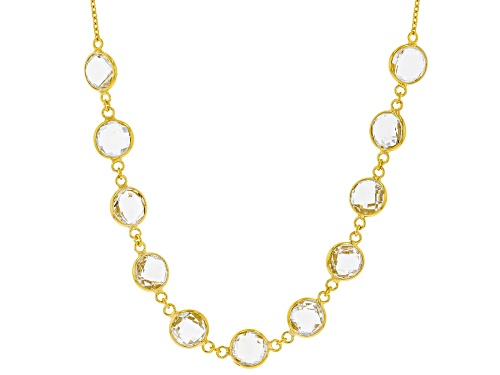 Photo of 24.00ctw Round Checkerboard Cut White Topaz 18k Yellow Gold Over Sterling Silver Necklace - Size 18
