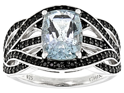 Photo of 1.90ctw Aquamarine With 0.53ctw Round Black Spinel Rhodium Over Sterling Silver Ring - Size 8
